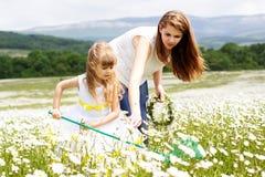 Mère avec son enfant jouant dans le domaine de camomille photo stock