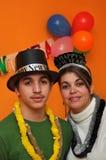 Mère célibataire avec le fils de l'adolescence Photos stock