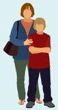 Mère célibataire et fils sans père illustration stock