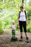Mère dévouée tenant des mains avec son fils, marchant dans les bois image libre de droits