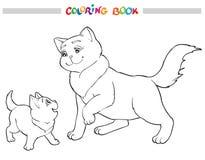 Mère de chat d'illustration de vecteur avec le chaton Livre de coloration Photos stock