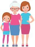 Mère de fille de portrait de famille et génération de la grand-mère trois illustration de vecteur