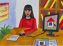 Mère du dessin des enfants au travail Photos libres de droits