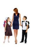 Mère et aller d'enfants Image libre de droits