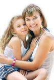 Mère et descendant au-dessus de blanc Images stock