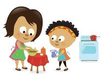 Mère et descendant effectuant un gâteau illustration stock