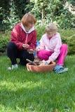 Mère et descendant plantant des tulipes Images libres de droits