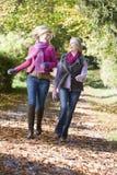 Mère et descendant sur la promenade par des bois Images libres de droits