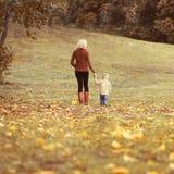 Mère et enfant de famille marchant ensemble en parc d'automne photo libre de droits