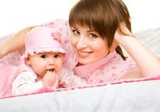 Mère et enfant en bas âge Image libre de droits