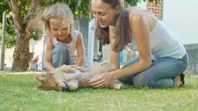 Mère et enfant jouant avec le chiot un jour chaud d'été extérieur Photo stock
