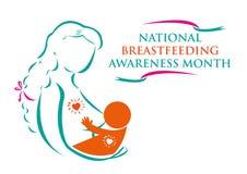 Mère et enfant pour le concept allaitant national de mois de conscience illustration stock