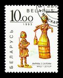 Mère et enfant, serie de Straw Figures, vers 1993 Photo stock