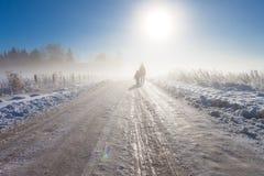 Mère et enfant sur le chemin d'exploitation brumeux de neige Photographie stock libre de droits