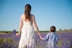 Mère et enfant tenant des mains sur le fond d'un beau champ fleurissant Photos stock