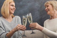 Mère et fille adultes heureuses ensemble à la maison Photographie stock libre de droits