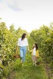 Mère et fille dans le vignoble Photographie stock libre de droits