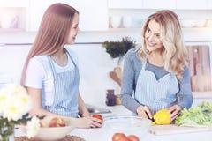 Mère et fille de sourire faisant cuire ensemble à la maison Photographie stock