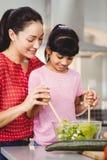 Mère et fille de sourire préparant la salade Image libre de droits