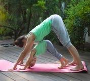 Mère et fille faisant le yoga de pratique d'exercice dehors photo libre de droits