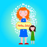 Mère et fille Illustration dans le style plat Images stock