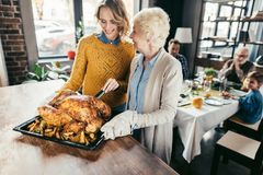 mère et fille supérieures de sourire avec la dinde de thanksgiving photo stock