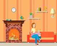 Mère et fille sur le sofa illustration stock