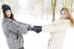 Mère et fille tenant des mains dans la neige Photo stock