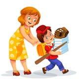 Mère et fils faisant la préparation d'école illustration de vecteur