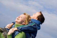 Mère et fils heureux Images libres de droits