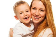 Mère et fils heureux Image stock