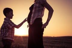 Mère et fils marchant sur le champ au temps de coucher du soleil Photographie stock