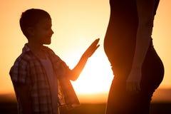 Mère et fils marchant sur le champ au temps de coucher du soleil Images stock