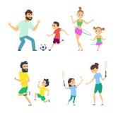Mère et père jouant dans les jeux actifs avec des enfants illustration libre de droits