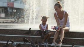 Mère et petite fille dans les pigeons de alimentation d'un parc banque de vidéos