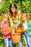 Mère et ses filles sélectionnant des clémentines photographie stock libre de droits