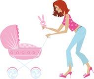Mère et voiture d'enfant Photos stock