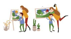 Mère européenne et son fils illustration stock