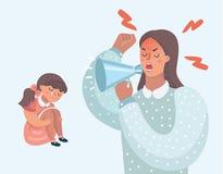 Mère fâchée avec sa fille vilaine illustration de vecteur