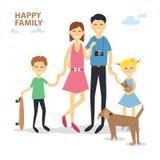 Mère heureuse de famille de bande dessinée, père, fils, fille, chien, raie dans le style plat illustration de vecteur