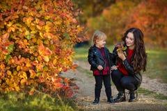 Mère heureuse de famille et fille d'enfant petite courant et jouant sur la promenade d'automne photo stock