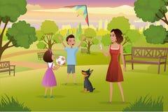 Mère heureuse jouant avec des enfants dans le vecteur de parc de ville illustration stock