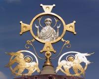 Mère sainte de Dieu avec deux anges Photos stock
