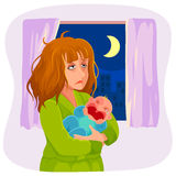 Mère somnolente fatiguée