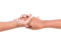 Mère tenant sa main de fille Concept d'aide ou de soutien isola Images stock