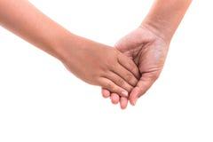 Mère tenant sa main de fille Concept d'aide ou de soutien isola Images libres de droits