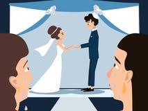 Mères pleurant à la bande dessinée de vecteur de cérémonie de mariage juif illustration stock