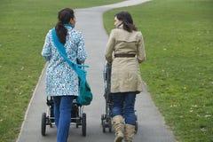 Mères poussant des poussettes en parc Image libre de droits