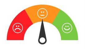 Mètre de satisfaction d'émotions d'icône de client avec le symbole différent sur le fond illustration libre de droits