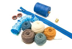 Mètre et boules bleus de fil Photographie stock